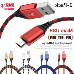 2-Pack Micro USB Charger Fast Charging Cable Cord For Samsun