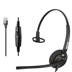 Arama A800S Corded Office Phone Headset with Noise Cancellin