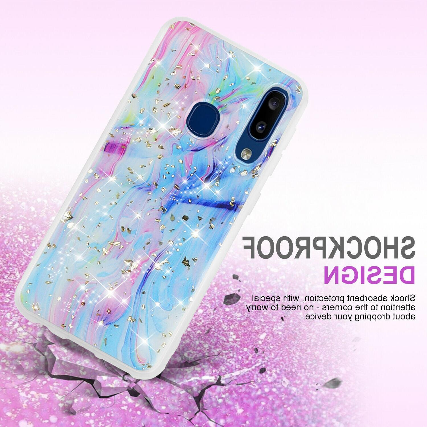 For Samsung A10e A20 Phone Case Cover, Marble Glitter