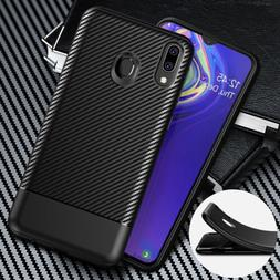 For Samsung Galaxy A10 M10 M20 Shockproof Carbon Fiber Rubbe